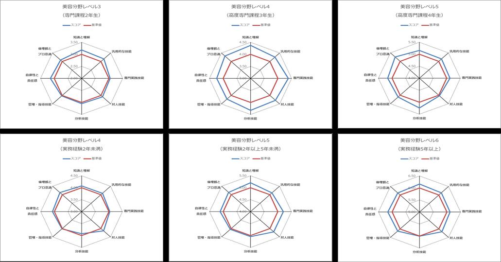 分野ごと・レベルごと・対象ごと試行結果のチャート
